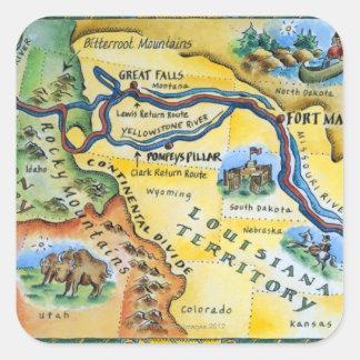 Mapa de la expedición de Lewis y de Clark Pegatina Cuadrada