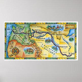 Mapa de la expedición de Lewis y de Clark Póster