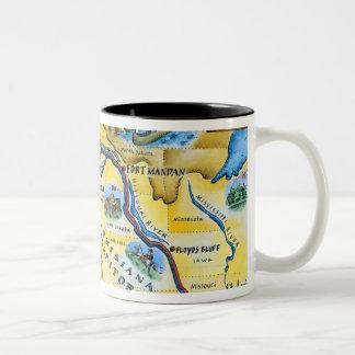 Mapa de la expedición de Lewis y de Clark Taza De Café De Dos Colores