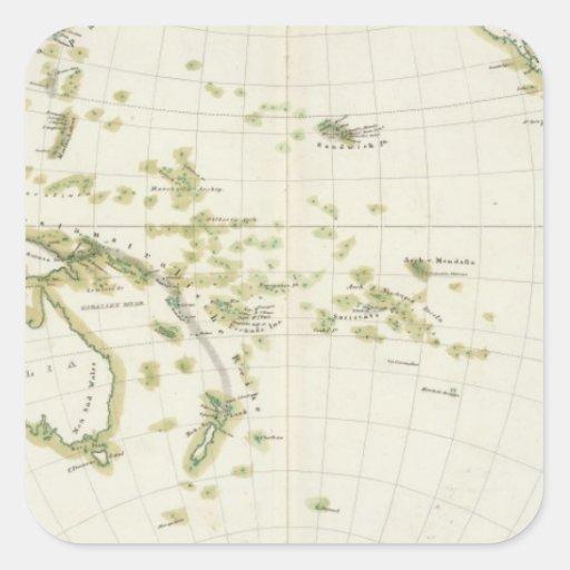 mapa de la faja del volcán pegatina cuadrada