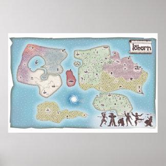 Mapa de la fantasía de la aventura de Iohorn Impresiones