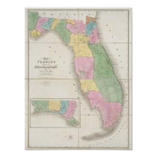 Mapa de la Florida 2 Póster