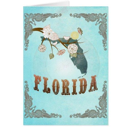 Mapa de la Florida con los pájaros preciosos Tarjetón