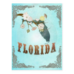 Mapa de la Florida con los pájaros preciosos Tarjetas Postales