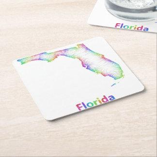 Mapa de la Florida del arco iris Posavasos Personalizable Cuadrado