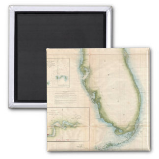 Mapa de la Florida del vintage Imán Cuadrado