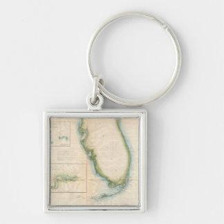 Mapa de la Florida del vintage Llavero Cuadrado Plateado