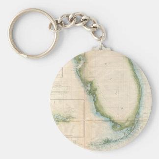 Mapa de la Florida del vintage Llavero Redondo Tipo Pin