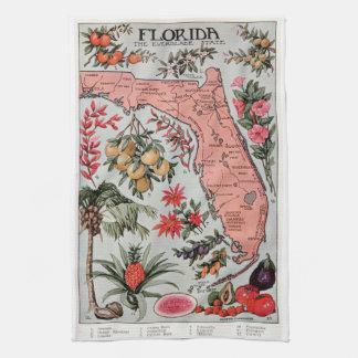 Mapa de la Florida del vintage Toallas De Mano