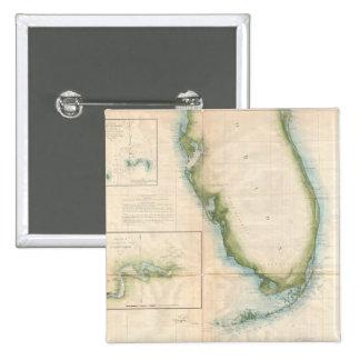 Mapa de la Florida del vintage Pin Cuadrado