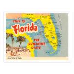 Mapa de la Florida del vintage Postal