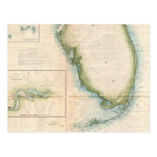 Mapa de la Florida del vintage Postales