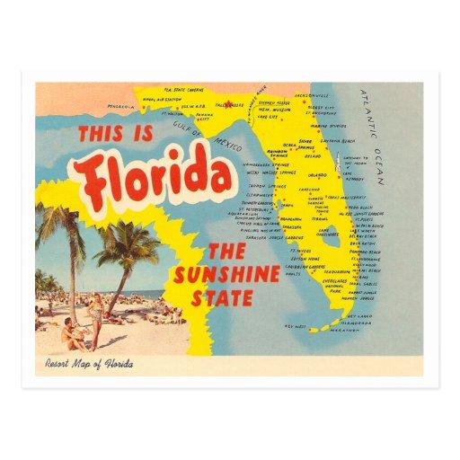 Mapa de la Florida del vintage Tarjeta Postal