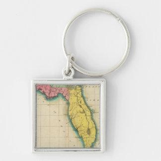 Mapa de la Florida Llavero Cuadrado Plateado