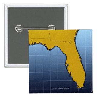 Mapa de la Florida Pin Cuadrado