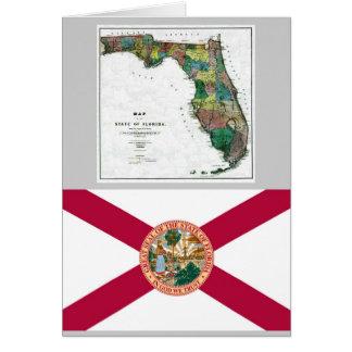 Mapa de la Florida y bandera del estado Felicitacion