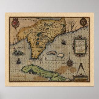Mapa de la Florida y del del Caribe (1588) Póster