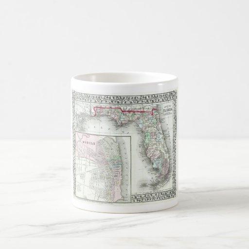 Mapa de la Florida y móvil antiguos, Alabama Taza De Café