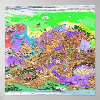 Mapa de la geología del poster de Marte