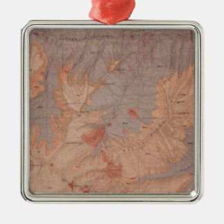 Mapa de la geología, pieza nacional de adorno navideño cuadrado de metal