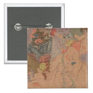 Mapa de la geología, pieza nacional de Yellowstone Pin Cuadrado