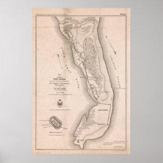 Mapa de la guerra civil de Fisher del fuerte Poster