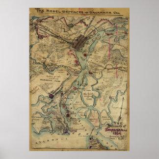 Mapa de la guerra civil de Georgia de la sabana Póster