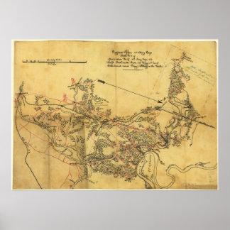 Mapa de la guerra civil de los caminos de Virginia Poster