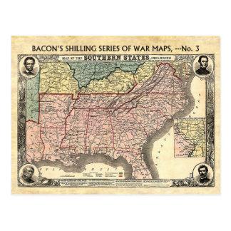 Mapa de la guerra civil de los estados sureños postales