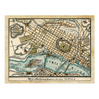 Mapa de la guerra civil de Richmond, Virginia en Postal