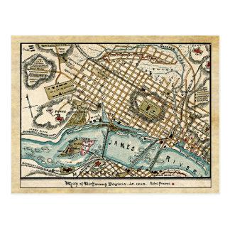Mapa de la guerra civil de Richmond, Virginia en Tarjetas Postales