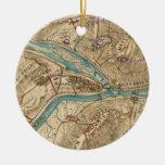 Mapa de la guerra civil del transbordador de los adorno navideño redondo de cerámica