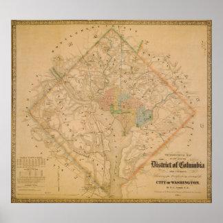 Mapa de la guerra civil del Washington DC 1862 Poster
