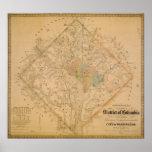 Mapa de la guerra civil del Washington DC 1862 Póster