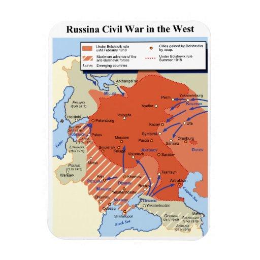 Mapa de la guerra civil rusa en el 1918-1920 del o iman flexible