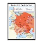 Mapa de la guerra civil rusa en el 1918-1920 del o impresión de lienzo