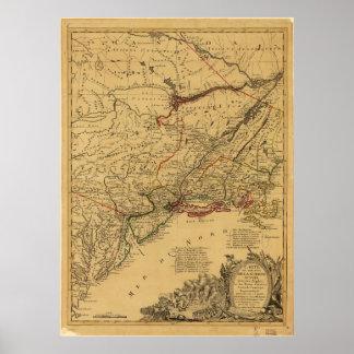 Mapa de la guerra de revolucionario americano por póster