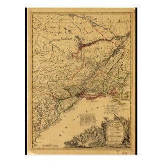 Mapa de la guerra de revolucionario americano por postal