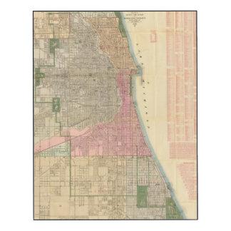 Mapa de la guía de Blanchard de Chicago 2 Impresión En Madera