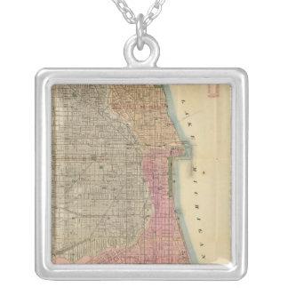 Mapa de la guía de Blanchard de Chicago Colgante Cuadrado