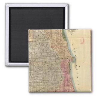 Mapa de la guía de Blanchard de Chicago Imán Cuadrado