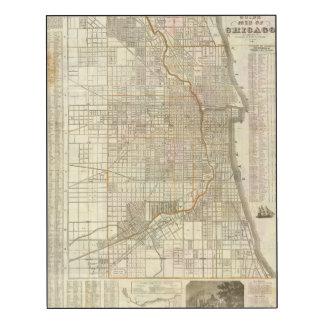 Mapa de la guía de Blanchard de Chicago Impresión En Madera