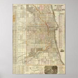 Mapa de la guía de Blanchard de Chicago Poster