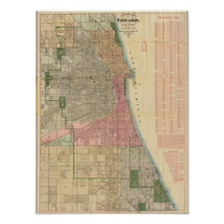 Mapa de la guía de Blanchard de Chicago Impresiones