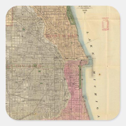 Mapa de la guía de Blanchard de Chicago Calcomanias Cuadradas