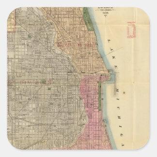 Mapa de la guía de Blanchard de Chicago Pegatina Cuadrada