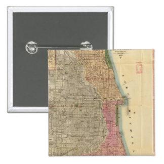Mapa de la guía de Blanchard de Chicago Pin Cuadrado