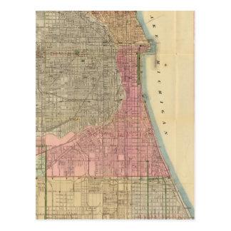 Mapa de la guía de Blanchard de Chicago Postales
