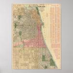 Mapa de la guía de Blanchard de Chicago Póster