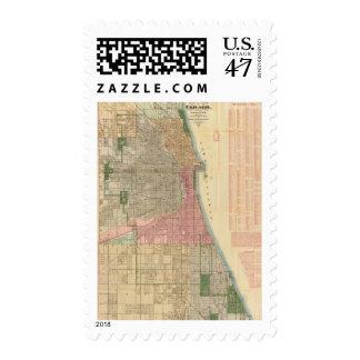 Mapa de la guía de Blanchard de Chicago Sellos Postales